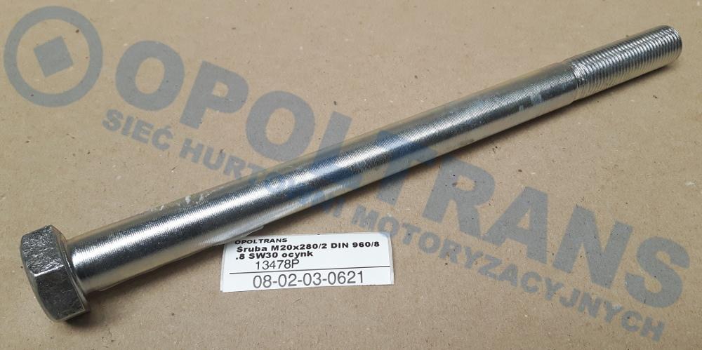 Śruba  M20x280/2  DIN  960/8.8  SW30  ocynk